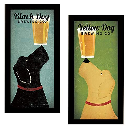 Black Dog Brewing Co and Yellow Dog Brewing by Ryan Fowler Framed 2 Picture Set Beer Lab 11x23 Finished Size