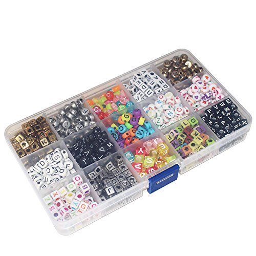 Word Beads Set - 1100 Piece Assorted Alphabet Letter Bead Set in Plastic Storage Organisation Case - Gold, White, Black and Multicolour Beads in Various Shapes and Sizes - Ultimate Jewellery Making Set Kit