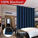 Flamingo P Extra Wide Blakcout Curtains for Patio Doors, 100% Blackout and Energy Saving Double Layer Lined Curtain Drapes for Bedroom/Living Room/Sliding Door/Patio Door, Navy Blue, 100