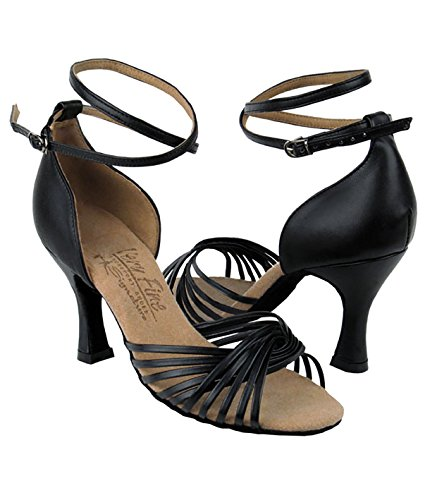 Scarpe Da Ballo Latino Ballo Tango Latino Molto Fine Per Le Donne S1001 Tacco 2,5 Pollici + Pacco Pennello Pieghevole In Pelle Nera