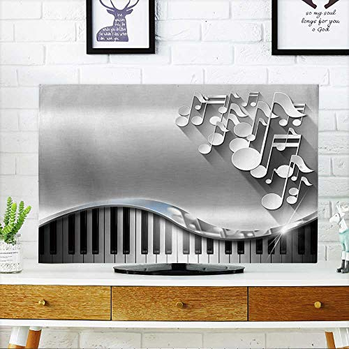 PRUNUS Dust Resistant Television Protector Music Metal Business Card White Musical Notes and Piano Keyboard on Metal Background tv dust Cover W30 x H50 INCH/TV 52