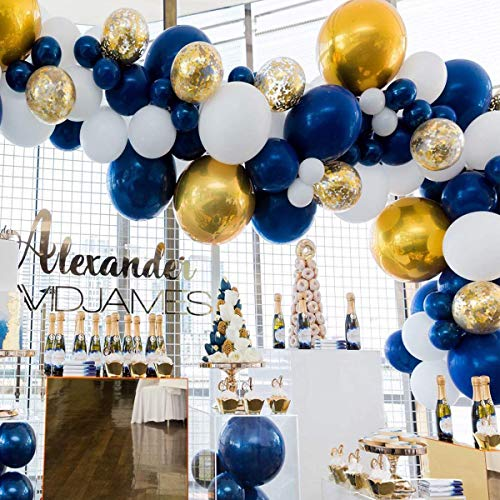 80 pcs Navy Party Balloons,12 inch Metallic Sea Blue/Pearl White/Gold Latex Balloon and Confetti Balloons for Boys Birthday Party Baby Shower Navy Party Decoration -