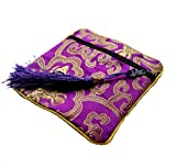Tasseled Chinese Silk Brocade Jewelry Pouches, Square Coin Purses,Pretty Gift Bags-Pack of 5 (Purple)