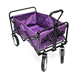 ALEKO TC1012 Multipurpose Folding Utility Wagon with Adjustable Retractable Handle 35 x 20 x 23 Inches Purple with Black Frame