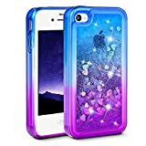 iPhone 4 Case, iPhone 4S Case, Ruky [Gradient Quicksand Series] Glitter Flowing Liquid Floating Protective Shockproof Clear TPU Girls Case for iPhone 4/4S - (Purple&Blue)