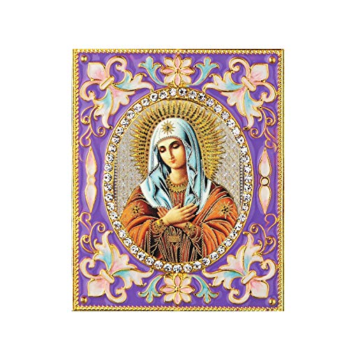 Religious Humility Saint Mary - Faberge Inspired Framed Icon Pendant on It's Stand 3 Inch tall Purple Enameled Frame
