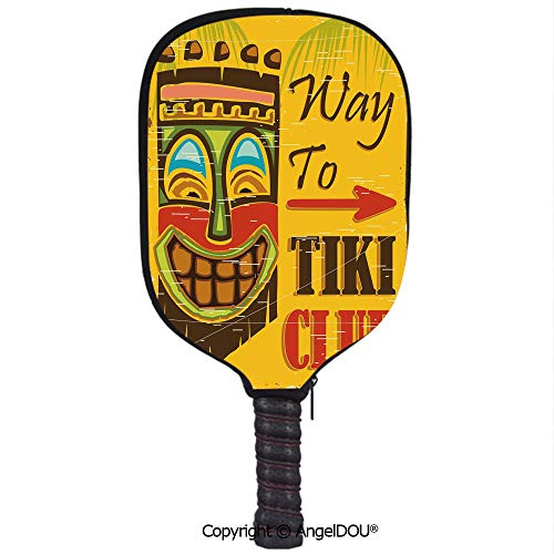 (AngelDOU Tiki Bar Decor Soft Neoprene Pickleball Paddle Racket Cover Case Way to Tiki Club Vintage Poster Design Grunge Polynesian Exotic Retro Print Decorative Fit for Most Rackets.Multicolor)