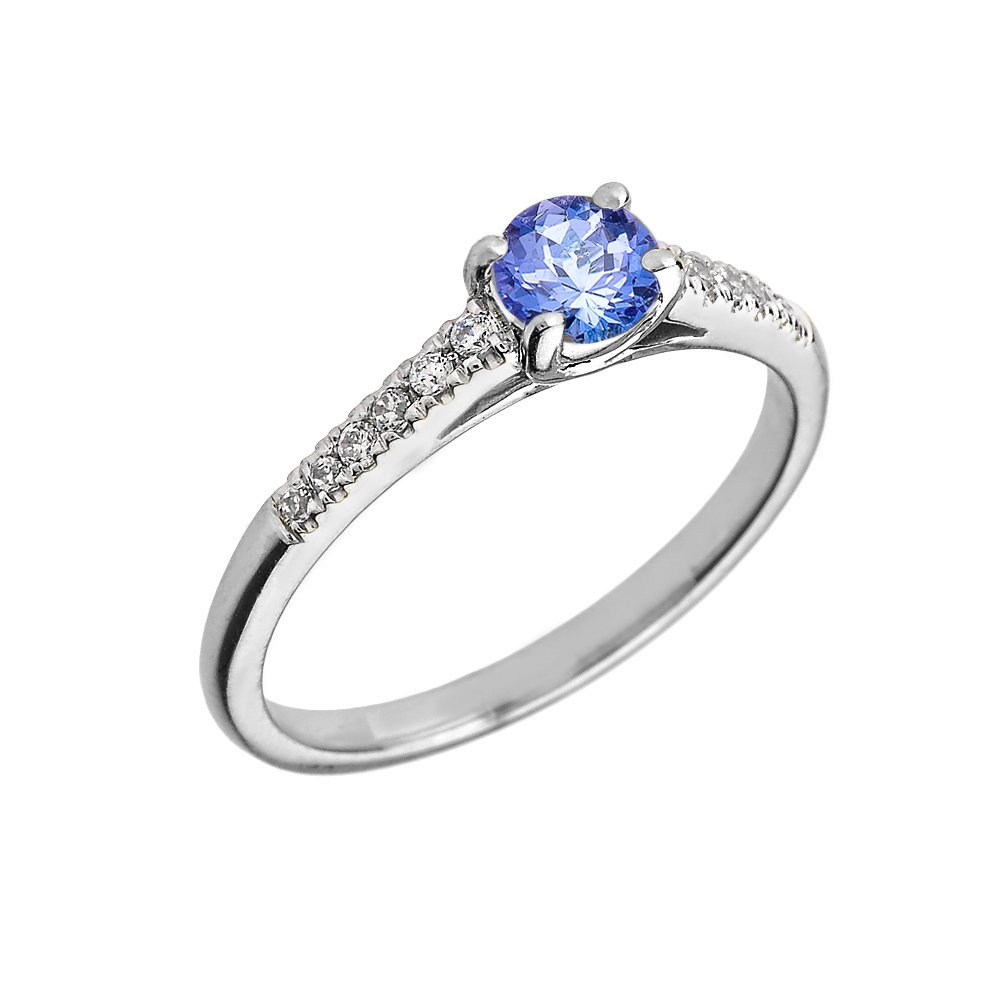 Dainty 14k White Gold Diamond and Tanzanite Engagement Proposal Ring (Size 5.5)