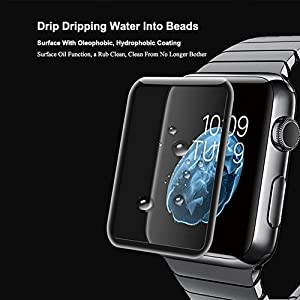 For Apple Watch Screen Protector,Full Screen Coverage Tempered Glass Bumper Case with 3D Curved Edge & High Defintion for iwatch Apple Watch 38mm/42mm Series 3/2/1 by Konglin