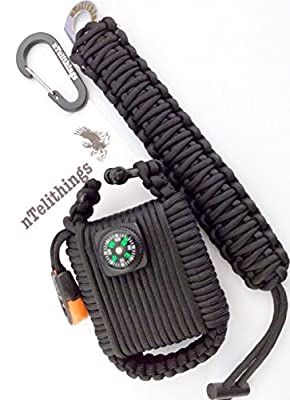 Paracord Bracelet - Survival Grenade Pod Combo - 550 Paracord Wrapped With Carabiner And Shackel Includes 26 Tools