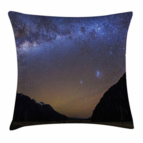 Star Throw Pillow Cushion Cover by Lunarable, Milky Way at Tasman Valley Mount Cook National Park Canterbury New Zealand Sky, Decorative Square Accent Pillow Case, 26 X 26 Inches, Blue - New Canterbury Zealand Stores Of