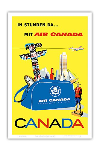 (Pacifica Island Art Canada - Air Canada TCA (Trans-Canda Air Lines) - Vintage Airline Travel Poster by Roberto Floreani c.1960 - Master Art Print - 12in x 18in)