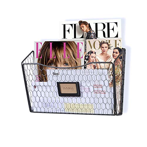 Hanging File Holder Wall Mesh Black File Folder Holder Wall Mount Wire Metal Magazine Organizer for Home Office Cabinet