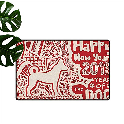 RenteriaDecor Year of The Dog,Custom Floor Mat Abstract Asian Folklore Elements Composition with Dog Silhouette 20