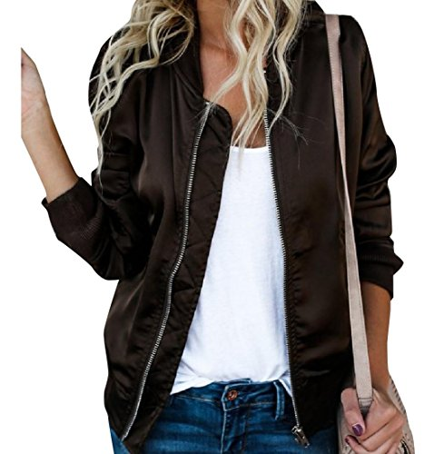 Weight Boyfriend Casual Howme Bomber Jacket Loose Light Coffee Women XHApwqS