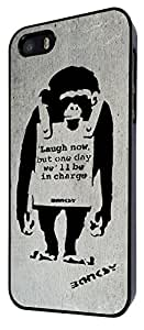 Iphone 4 4S Banksy Grafitti Art Monkey Laugh Now Design Fashion Trend Case Back Cover Metal and Hard Plastic Case