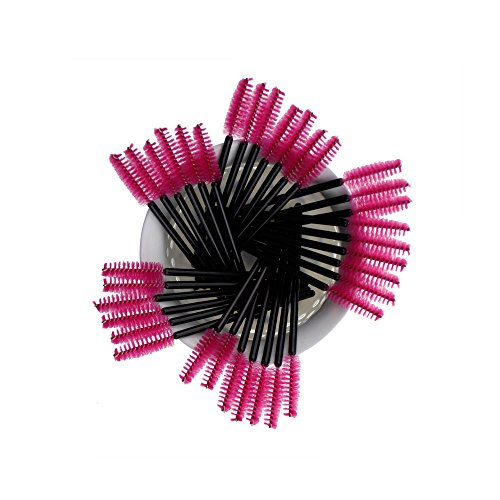 Gracallet® 100Pcs Hot Pink High Quality Disposable Eyelash Mascara Applicator Wand Brush Makeup Applicators (100Pcs Hot Pink) (Disposable Mascara Brushes)