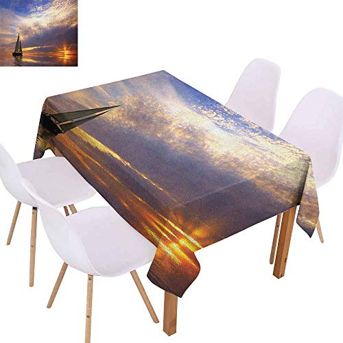(Waterproof Tablecloth Sailboat Sailing with Sunset Sunbeams on The Horizon Romance Honeymoon Destination Washable Tablecloth W70 xL102 Marigold Bluegrey)