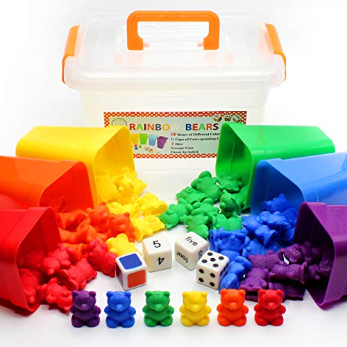 Counting Bears With Matching/Sorting Cups, 4 Dice And An Activity e-Book. For Toddlers And Early Childhood Education. 70 pc Game Set from SET4kids