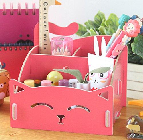 DIY Exquiste Artwork Folding Collection Pen Organizer Desk Sorter Room Dec Pink