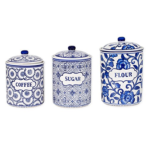 Blue White Patterned Ceramic 3 Pc Canister Set