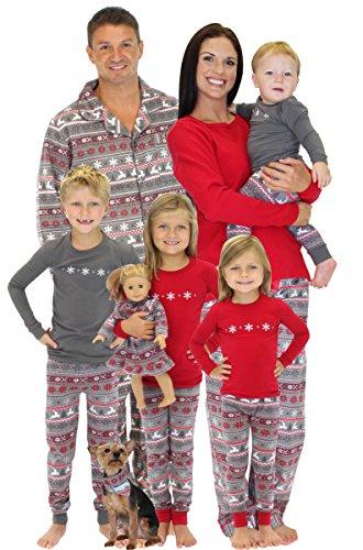 SleepytimePjs Family Matching Kids Pajama Nordic RED Top/Printed Pant 8