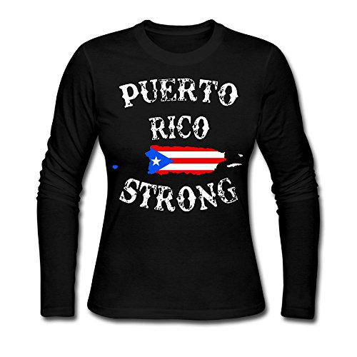 Puerto Rico Strong Women's Tee Shirts,Long Sleeve Bottoming Shirt Outer Garment For Woman