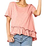 LIULIULIU✿Women Casual Ruffles Short Sleeve T-Shirt Tops Blouse Tee (L, Pink)