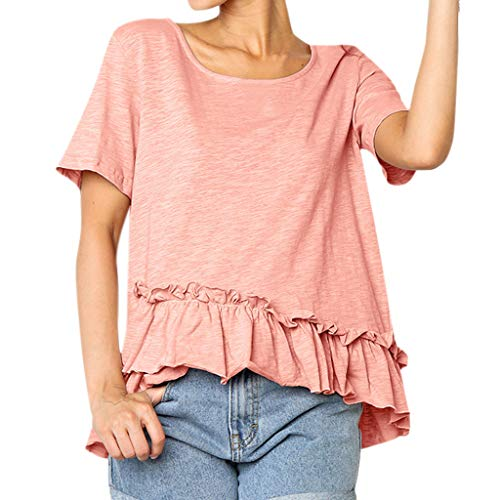 - Lelili Valentine's Day, Women Ruffle Short Sleeve Tops Round Neck Solid Color Simple Casual Loose Pullover Blouse Pink