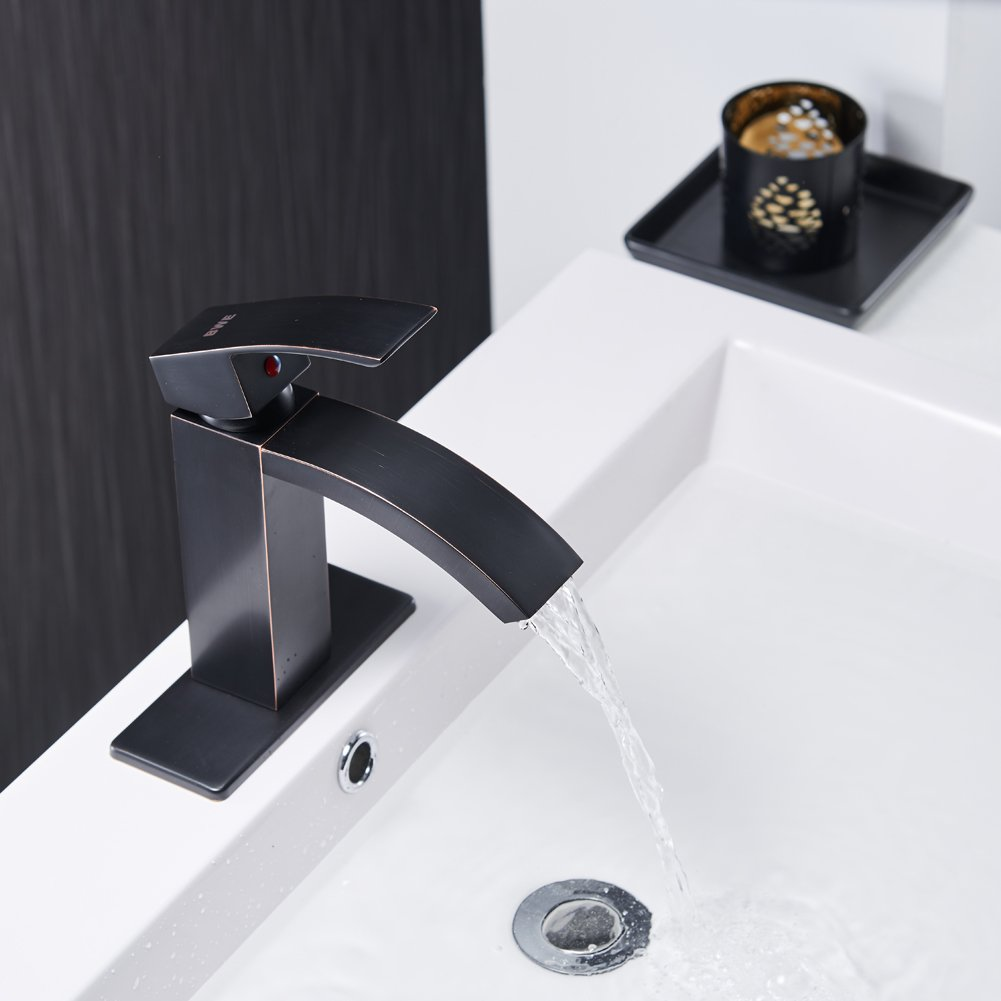 BWE Oil Rubbed Bronze Deck Mount Single Handle Waterfall Bathroom ...