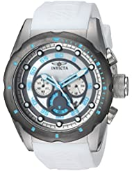 Invicta Mens Speedway Quartz Stainless Steel and Polyurethane Casual Watch, Color:White (Model: 20310)