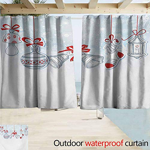 Window Curtains,Christmas Retro Style Famous Socks for Toy and Candy Bells and Snowflake Graphic Design,Darkening Thermal Insulated Blackout,W55x63L Inches,White Red