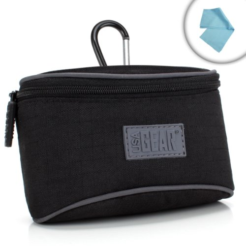 USA Gear Protective Hybrid Digital Camera Carrying Case Impact-Resistant Nylon, Accessory Pocket & Belt Loop Works Fujifilm X70, X-A2, Finepix XP90 More!