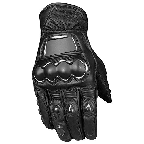 Optimus Men's Premium Leather Motorcycle Carbon Steel Armor Biker Gloves L