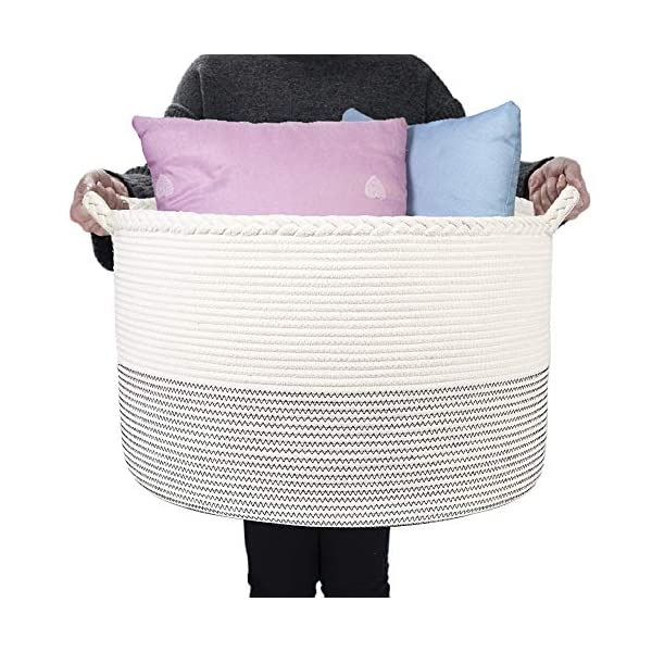 HOMSHOO XXXLarge Cotton Rope Basket – 21.7 x 13.8 inches Woven Laundry Baskets with Handle – Decorative Round Blanket Basket Living Room – Nursery Storage Bins for Toy, Shoe, Cloth, Blanket, Pillow