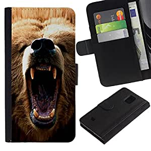 EuroCase - Samsung Galaxy S5 Mini, SM-G800, NOT S5 REGULAR! - Cool Angry Bear Grizzly - Cuero PU Delgado caso cubierta Shell Armor Funda Case Cover