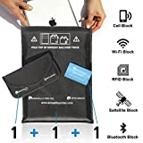 FARADAY Signal Blocking Set Protects Phones, Tablets, Passports, Car Key Fobs from ALL Signals Including EMF, EMP and RFID! 1 Tablet Bag - 1 Phone Bag - 1 Blocking Card