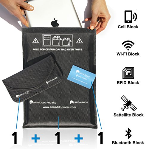 FARADAY Cage Set - RFID Signal Blocking Bags for Tablet, Cell Phone, GPS, Car Key Fobs - Shields WiFi / Bluetooth / RFID / NFC / EMF / EMP etc - 1 Tablet Bag + 1 Phone Bag + 1 Card for Wallet