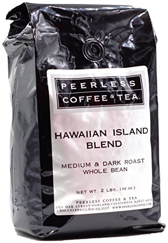 32oz Hawaiian Island Blend, Whole Bean Coffee, Medium & Dark Roast by Peerless Coffee & Tea (Pack of 1)