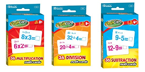 Math Multiplication Division Subtraction Flash Cards - Bundle Three Sets Cards Mastery Basic Math Facts
