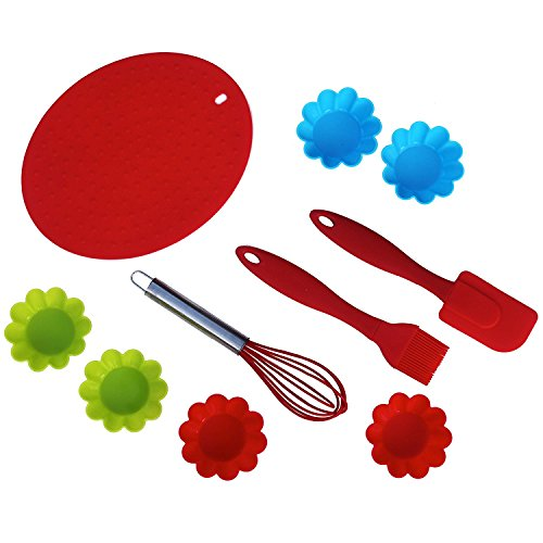 10-pc Premium Silicone Cupcake Baking Set & Decorating Set. Cooking Essentials girls & boys. Montessori Materials Practical Life. Heat resistant, nonstick silicone spatula, silicone cupcake holders