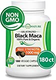 Madre Nature - Organic Gelatinized Black Maca Root from Peru - Max Strength 1000mg Per Serving - Supports Reproductive Health & Energy - Non-GMO