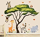 Safari Decal with Tree and Animals, African Tree with Safari Sunset Animals