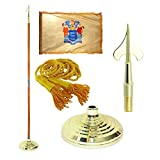 New Jersey 3ft x 5ft Flag, Flagpole, Base, and Tassel (Army Spear, 8 Ft Oak Pole)