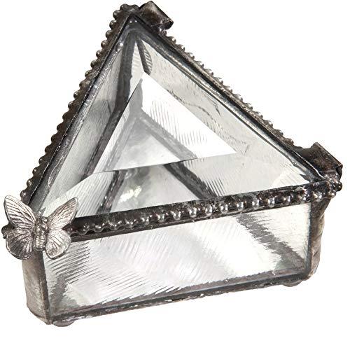 J Devlin Box 517 Triangle Glass Ring Box with Butterfly Jewelry Keepsake Trinket Box Gift