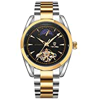 TEVISE Brand Unisex Waterproof Skeleton Moon Phase Fully Semi-automatic Mechanical Watch Luxury Business Style Stainless Steel Wristwatch