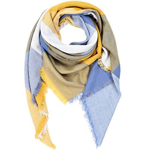 Vbiger Women Stylish Blanket Plaid Scarf Oversized Tartan Scarf Checked Shawls Wrap Shawl Cozy Checked Pashmina  Yellow Blue