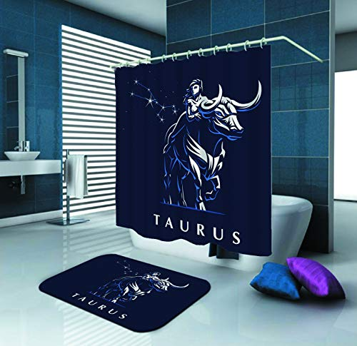 - SARA NELL Shower Curtain Sign of The Zodiac Taurus Bull Bath Curtain 72X72In Polyester Fabric Shower Curtains Set with 15.7X23.6In Flannel Non-Slip Floor Doormat Bath Rugs