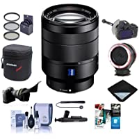 Sony 24-70mm f/4 Vario-Tessar T FE ZA OSS, FF, E-Mount NEX Camera Lens Bundle With FocusShifter DSLR Follow Focus - Peak Lens Changing Kit Adapter - Flex Lens Shade, 67mm Filter Kit, And More