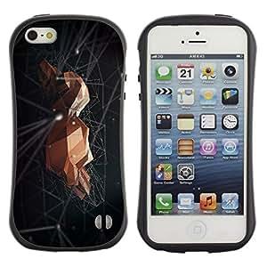 """Hypernova Slim Fit Dual Barniz Protector Caso Case Funda Para Apple iPhone SE / iPhone 5 / iPhone 5S [Roca Espacio Negro abstracto minimalista""""]"""